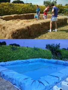 6 adorable and fun ways to use hay bales - Redneck swimming pool with hay bales ...
