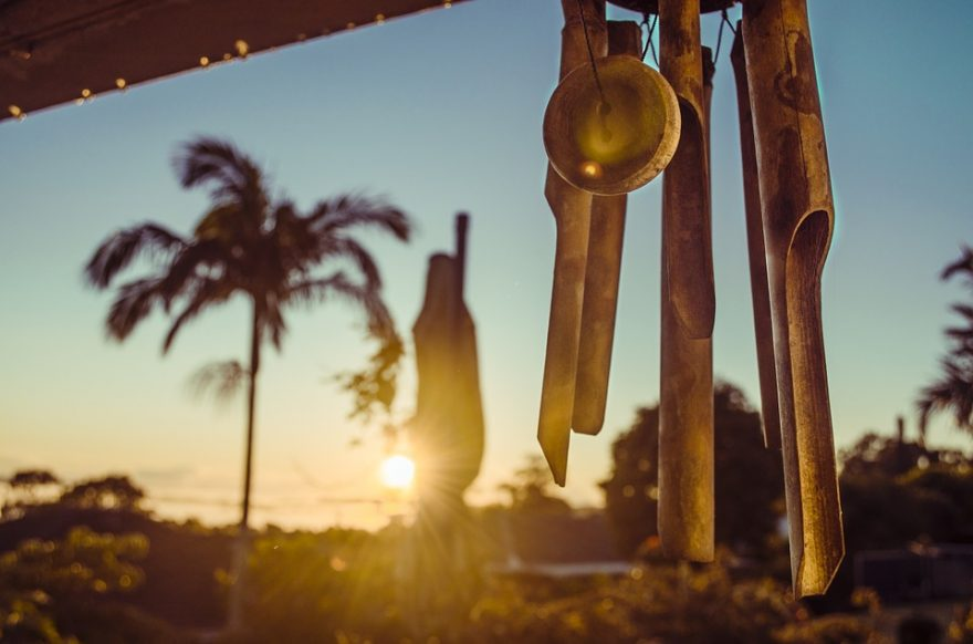using wind chimes
