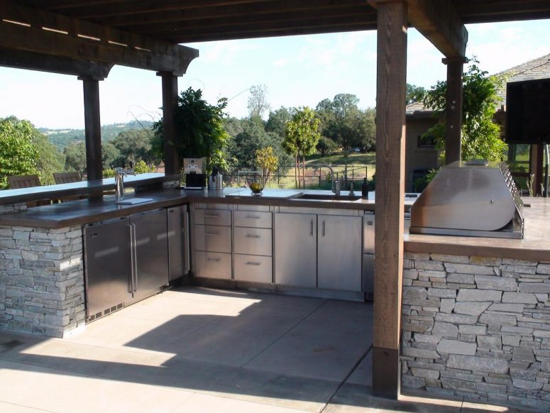 outdoor kitchen, kitchen, cleaning, hygiene