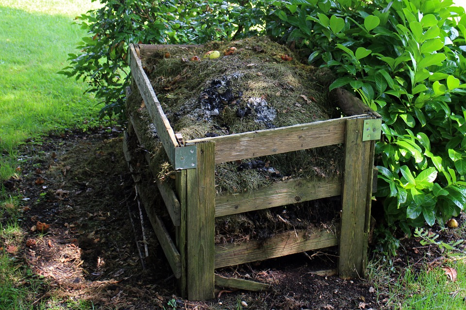 Compost on the garden