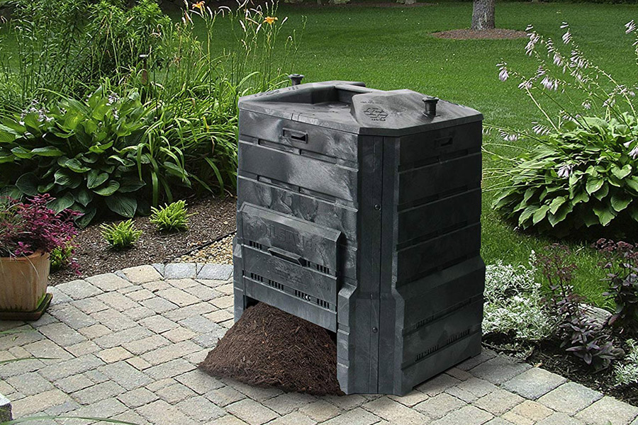 Black best compost bin in the lawn